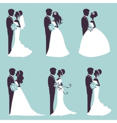 Elegant wedding couples in silhouette vector