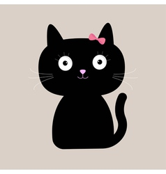 Cute cartoon black cat with big eyes vector