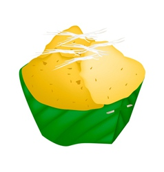 Dessert product of sugar palm in count banana leaf vector