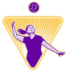 Female volleyball player serving ball vector