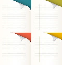 Lined papers set with bent corners - vector