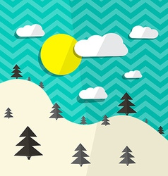 Retro flat design landscape with hills and t vector