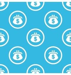 Dollar purse sign blue pattern vector
