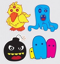 Cute monster stickers vector