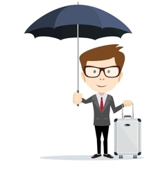 Senior businessman with briefcase and umbrella vector
