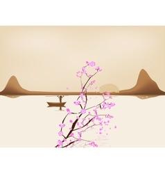 Lake china landscape and sacura vector