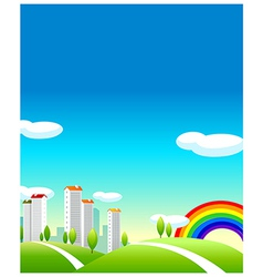 Green landscape and buildings vector