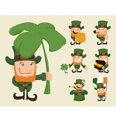 Set of leprechaun characters poses vector
