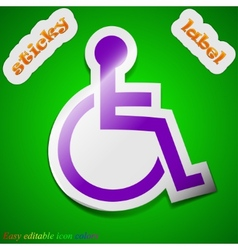 Disabled icon sign symbol chic colored sticky vector
