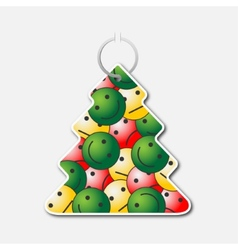Small tree with handle and smileys with emotions vector