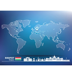 Map pin with budapest skyline vector