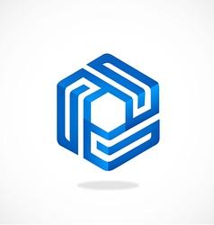Cube geometry line 3d logo vector