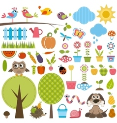 Garden set with birds trees flowers vegetables vector