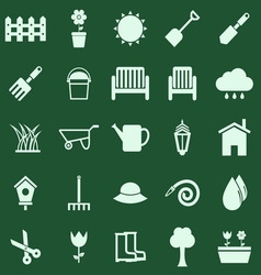 Gardening color icons on green background vector
