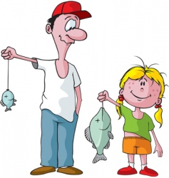 Dad and daughter fishing trip vector