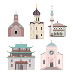 Church flat collection vector