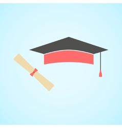 Flat graduation cap and diploma concept of vector