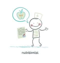 Nutritionist shows the document speaks of healthy vector