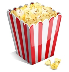 Popcorn in a striped tub vector