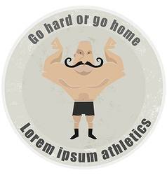 Athletic emblem with mustached bodybuilder vector