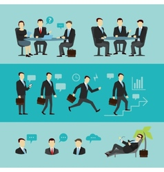 Teamwork set interview flat vector