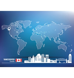 Map pin with vancouver skyline vector