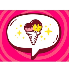 Bubble with icon of ice cream on pink pat vector