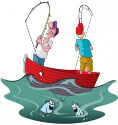 Tangled up fishermen vector
