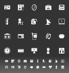 House related icons on gray background vector