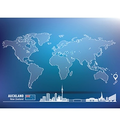 Map pin with auckland skyline vector