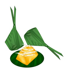 Toddy palm cake wrap with banana leaves vector