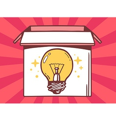 Open box with icon of bulb light on red vector