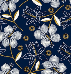 Hibiscus tropical embroidery navy seamless pattern vector