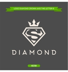 Diamond with the letter s and flat crown vector