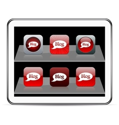 Blog red app icons vector