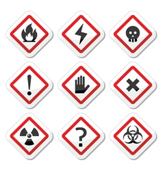 Danger warning attention square icons set vector