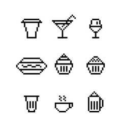 Pixel art drink water glass dishes sausage vector