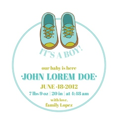 Baby shower and arrival card - baby shoes theme vector