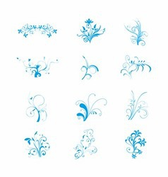 Blue floral art download free vector