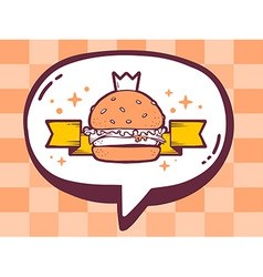 Bubble with icon of big burger on orange vector