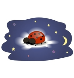Ladybug sleeping on a cloud vector