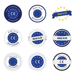 Made in eu labels badges and stickers vector
