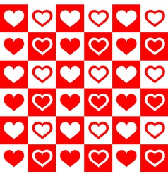 Seamless red white hearts vector