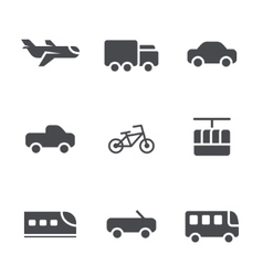 Modes of transport icons set vector