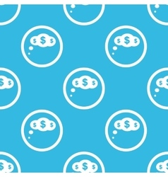 Dollar thought sign blue pattern vector