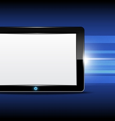 Tablet computer with shiny background vector