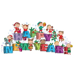 Happy new year kids on the letters vector