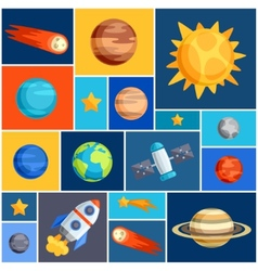 Background with solar system planets and celestial vector