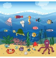 Underwater ocean life under the waves vector