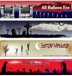 Halloween web banner templates vector